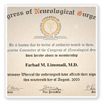 Neurosurgeon Farhad M. Limonadi, M.D. Certificatel 4